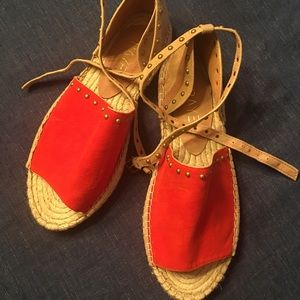 Raye Studded Red Suede Strap Deb Espadrilles, 40.